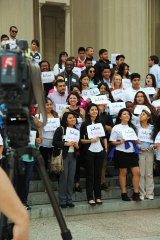 Participants of Tuition Equality Day on the Hill, gather for a press conference