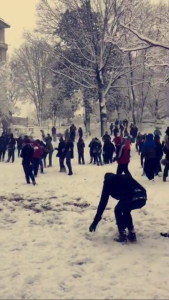 Campus snowball fight in the quad